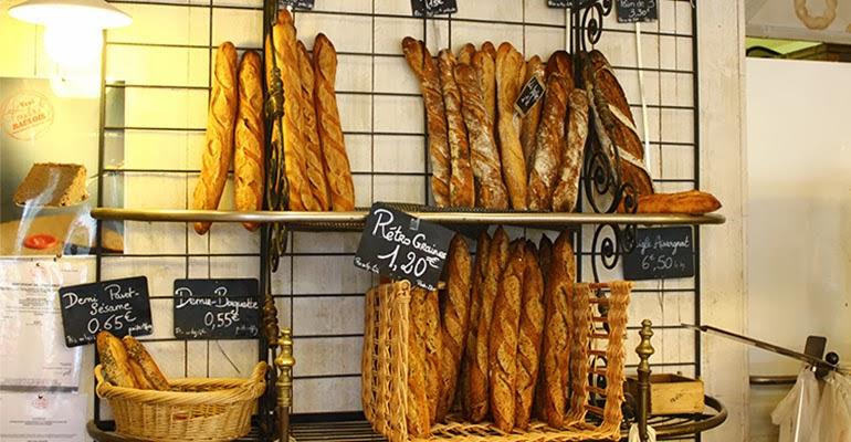 Baguetes na Le Grenier à Pain em Paris