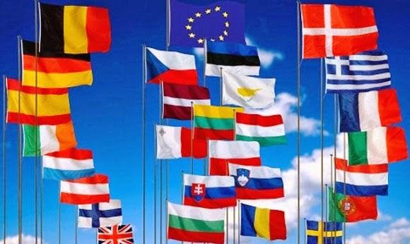 Bandeiras de vários países da Europa