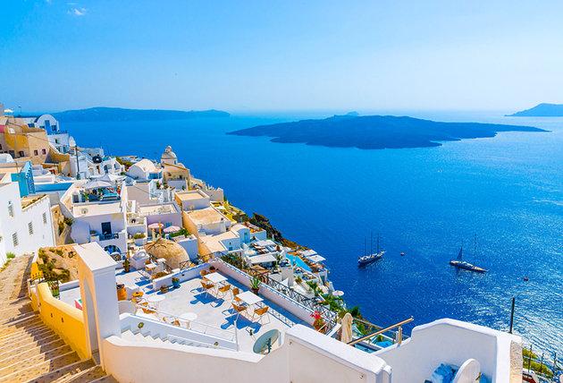 Cidade deFira em Santorini na Grécia