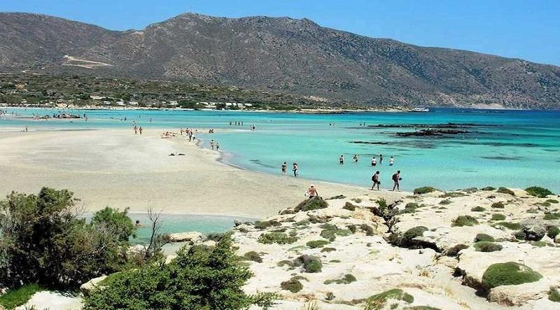 Praia Elafonisi na ilha de Creta