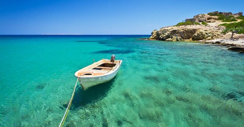 Mar da ilha de Creta na Grécia